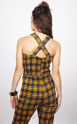 Jawbreaker Check 'Em Out Mustard Plaid Jumpsuit back
