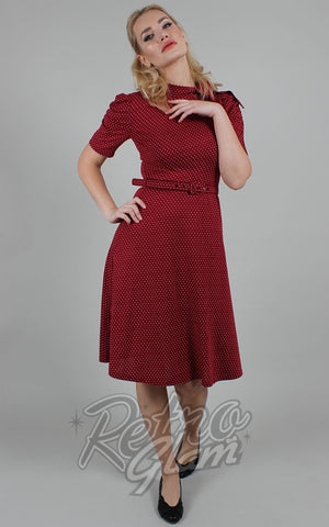 Voodoo Vixen Posie Polka Dot Tie Neck Dress in Burgundy