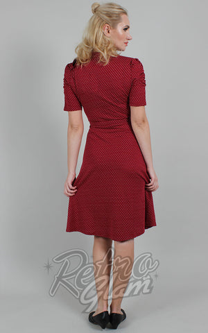 Voodoo Vixen Posie Polka Dot Tie Neck Dress in Burgundy back