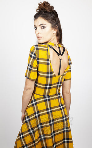 Jawbreaker Reality Check Yellow Plaid Skater Dress back