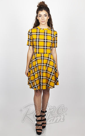 Jawbreaker Reality Check Yellow Plaid Skater Dress