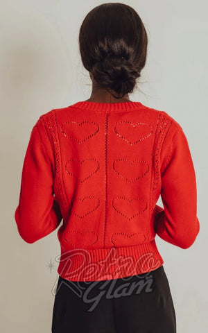 Voodoo Vixen Regina Heart Cardigan in Red back