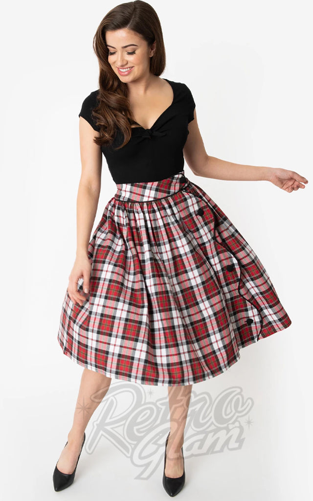 Unique Vintage Romero Skirt in Red & Black Plaid