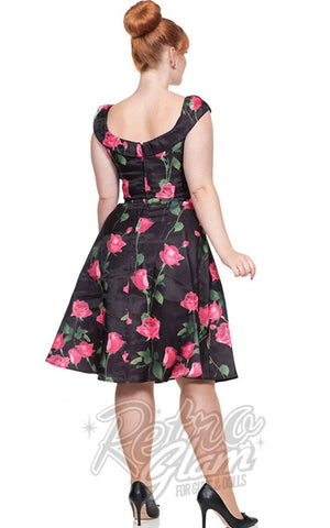 Voodoo Vixen Rosabelle Organza Flare Dress in Roses Back