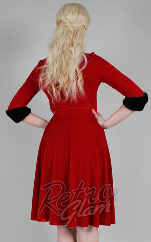 Voodoo Vixen Roxanne Velvet Dress in Red with Cherry Brooch back