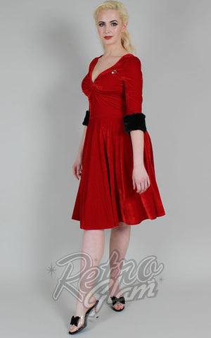 Voodoo Vixen Roxanne Velvet Dress in Red with Cherry Brooch