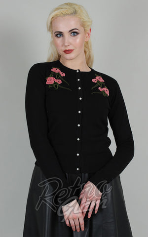Voodoo Vixen Sabrina Applique Cardigan in Black