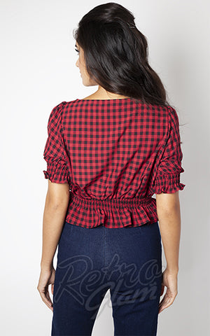 Voodoo Vixen Sadie Gingham Top in Red back