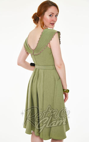 Voodoo Vixen Scarlina Sage Green Scallop Neckline Dress back