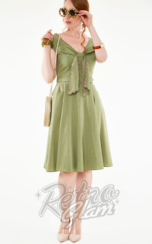 Voodoo Vixen Scarlina Sage Green Scallop Neckline Dress