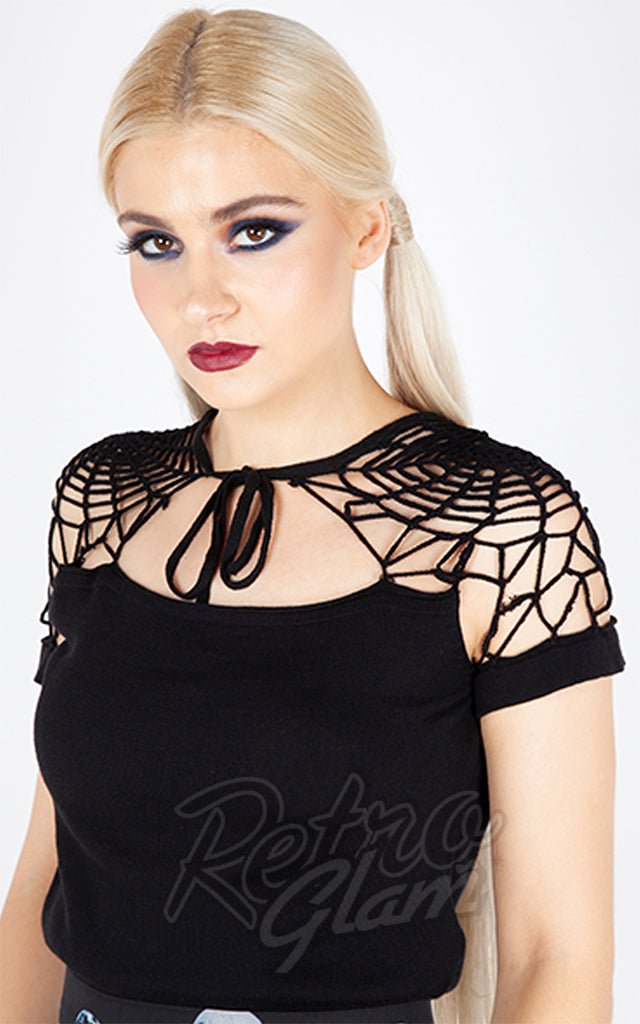 Jawbreaker Black Spiderweb Knit Top