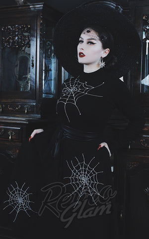 Voodoo Vixen x Acid Doll Spiderweb Embroidered Skirt