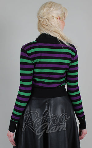 Voodoo Vixen Purple & Green Striped Cropped Cardigan back