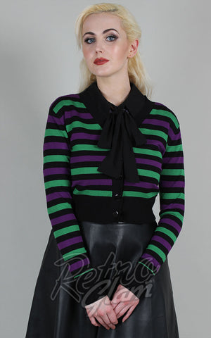 Voodoo Vixen Purple & Green Striped Cropped Cardigan