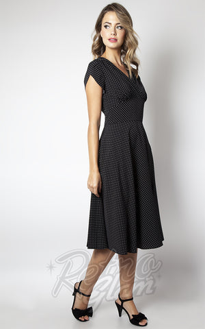 Voodoo Vixen Tabby Black & White Polka Dot Tea Dress side