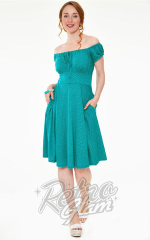 Voodoo Vixen Tessy Dress in Teal & White Polka Dots