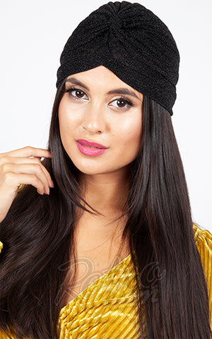 Voodoo Vixen Leila Turban in Black Sparkle