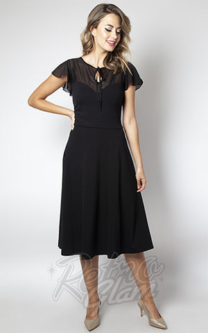 Voodoo Vixen Victoria Flutter Sleeve Dress in Black