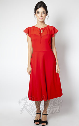 Voodoo Vixen Victoria Flutter Sleeve Dress in Red 40s