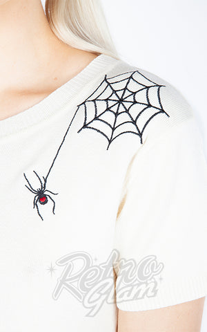 Jawbreaker Black Widow Sweater in Cream detail