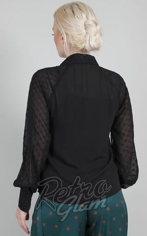 Voodoo Vixen Winona Long Sleeve Blouse in Black back