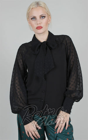 Voodoo Vixen Winona Long Sleeve Blouse in Black
