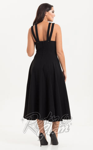Voodoo Vixen Ava Cross Neck Dress in Black back
