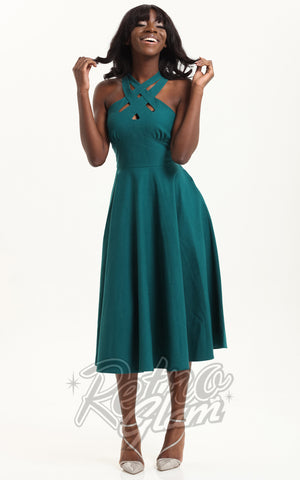 Voodoo Vixen Ava Cross Neck Dress in Green