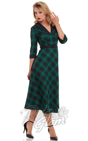Voodoo Vixen green plaid Lola flare Dress with 3/4 sleeves, removable fur collar, and belted waist front on model