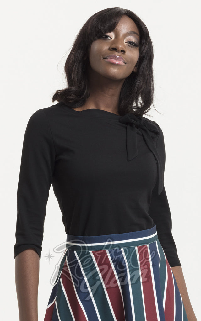 Voodoo Vixen Melanie Tie Neck Top in Black