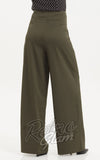 Voodoo Vixen Ola Olive Flared Trousers back