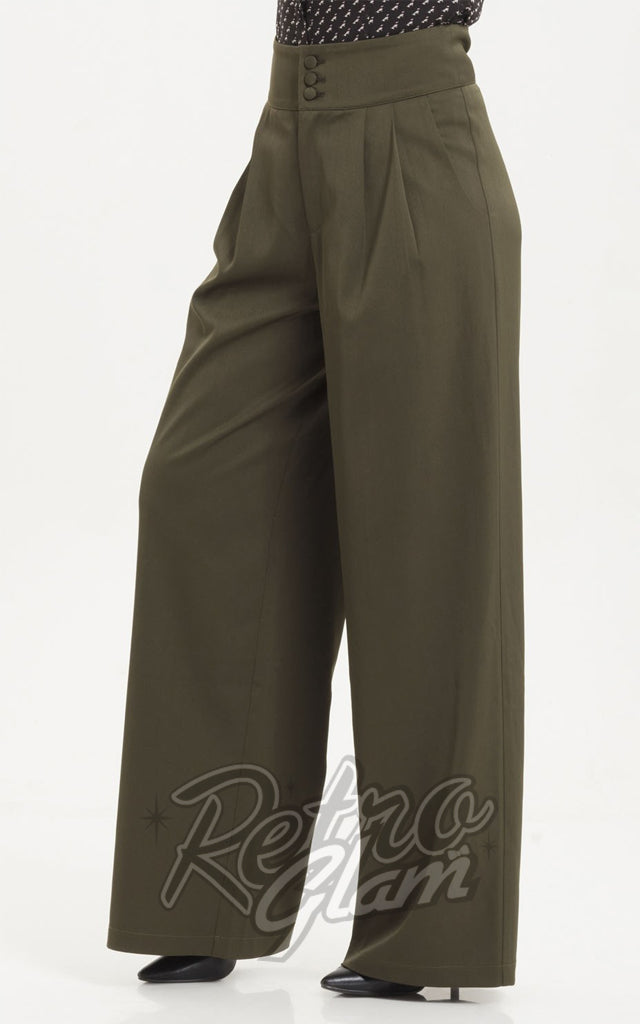 Voodoo Vixen Ola Olive Flared Trousers