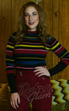 Voodoo Vixen Knit Sweater in Black & Multi Stripe