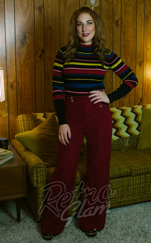 Voodoo Vixen Wide Legged Corduroy Pants in Burgundy