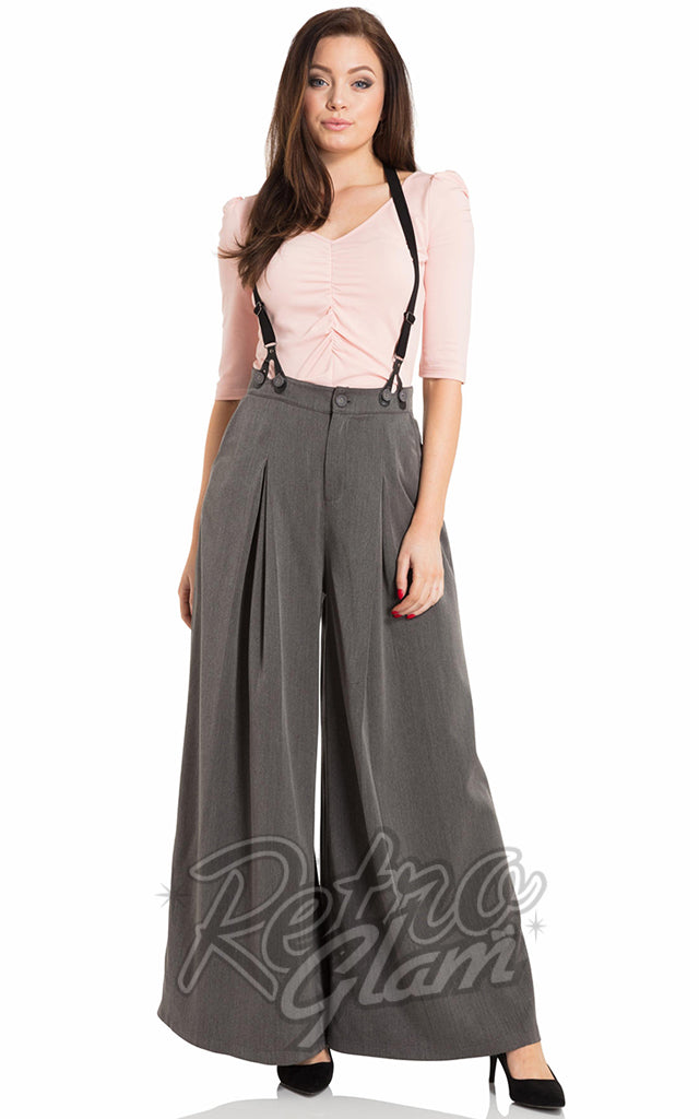 Voodoo Vixen Khloe Trousers in Grey with Suspenders