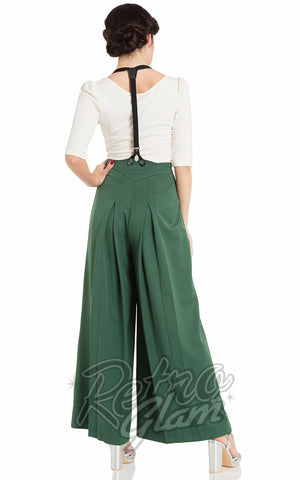 Voodoo Vixen Laura Trousers in Green with Suspenders Back