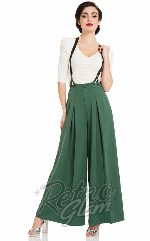 Voodoo Vixen Laura Trousers in Green with Suspenders