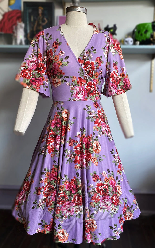Wax Poetic Aurora Wrap Dress in Lavendar Bouquet