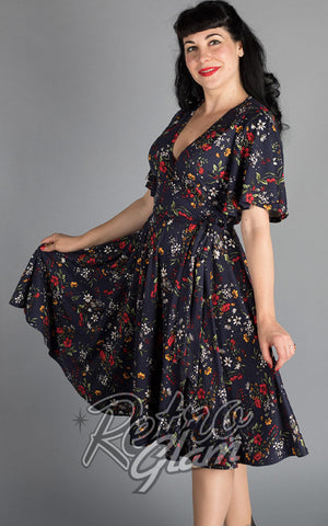Wax Poetic Aurora Wrap Dress in Edelweiss Print
