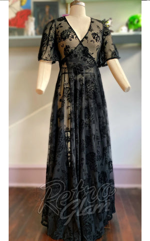 Wax Poetic Lydia dress in Black Rose Mesh robe