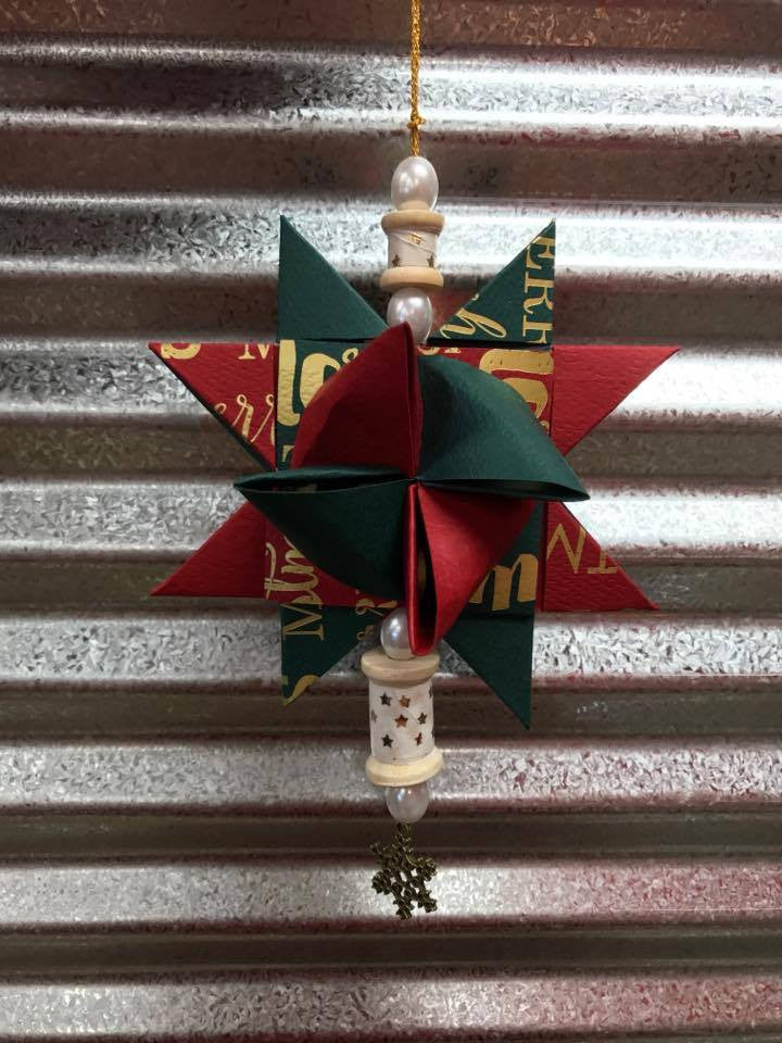 Froebel Star Ornament with Scrapbook Paper