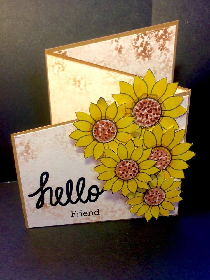 Z Fold Card With Sunflower Wishes