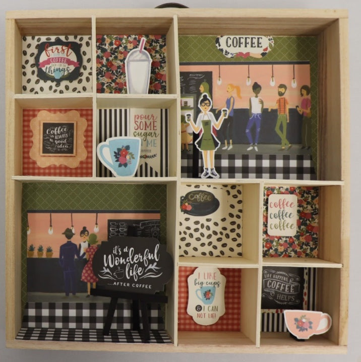 Coffee Paper by Echo Park Shadowbox FINISHED