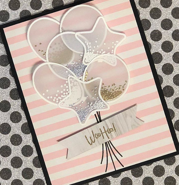 Vellum and Heat Embossed Balloons on a Card