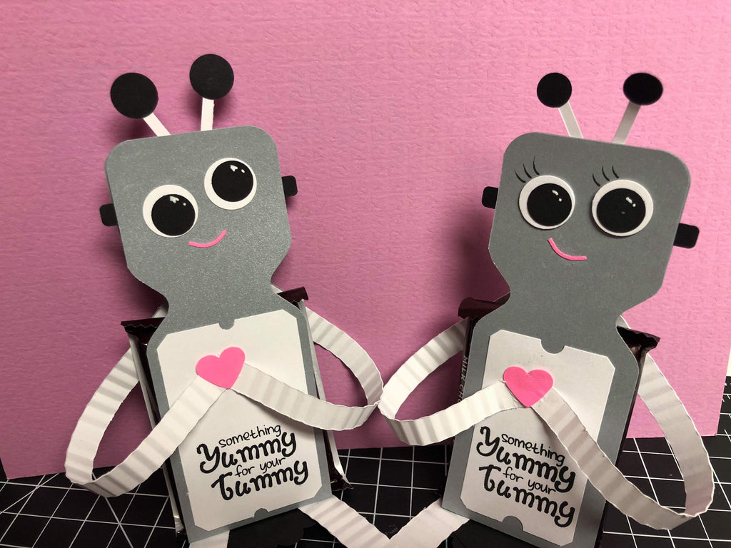 Envelope Punch Board Robot Valentine Treat