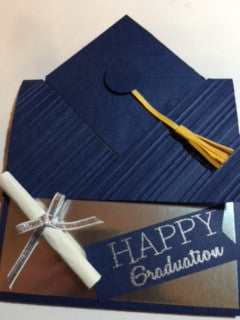 Graduation Cap and Gown card with Gift Card by Crystal Cleveland