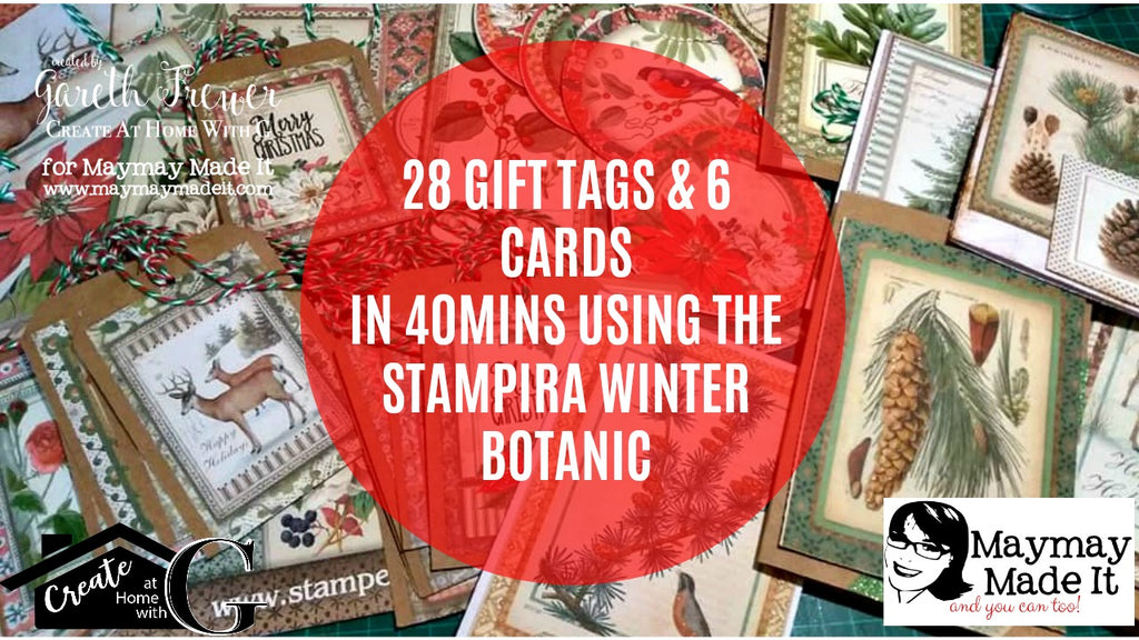 28 Gift Tags and 6 Cards in 40 Minutes Using the Stamperia Winter Botanic 12x12 Paper Pad