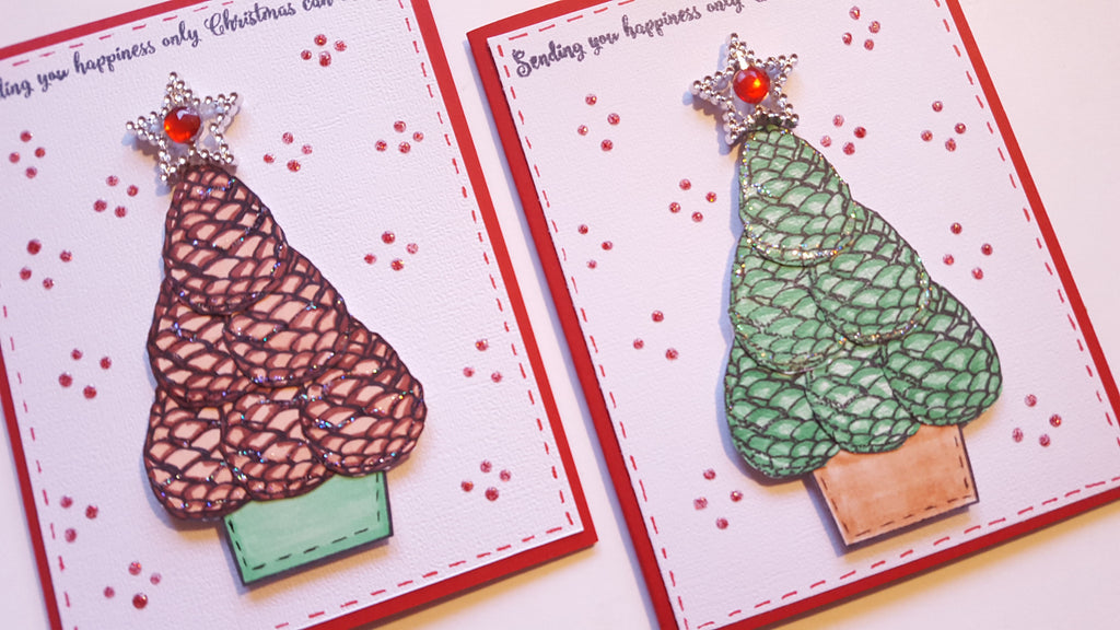 Pinecone Christmas Tree Card