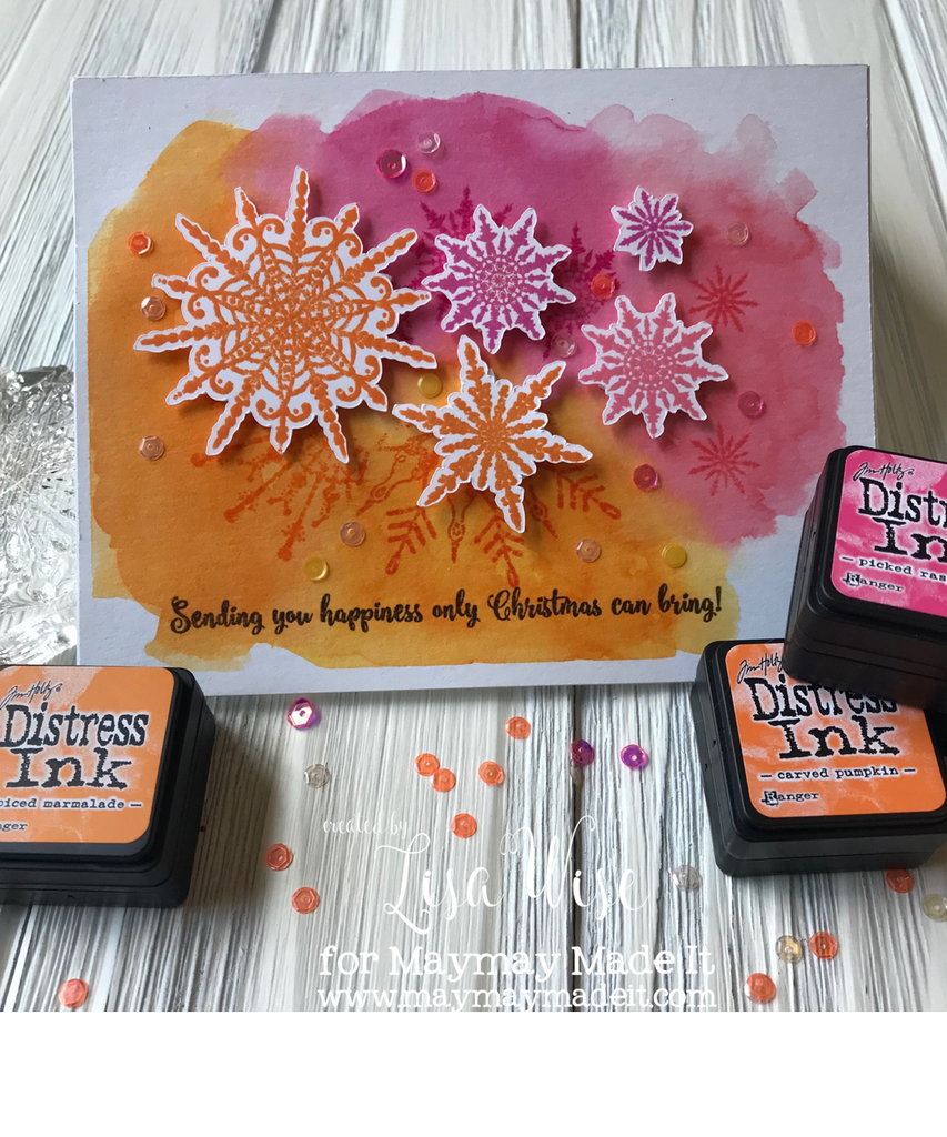 Blog Design Team Color Throw Down Challenge- Snowflake Distress Ink Watercolor
