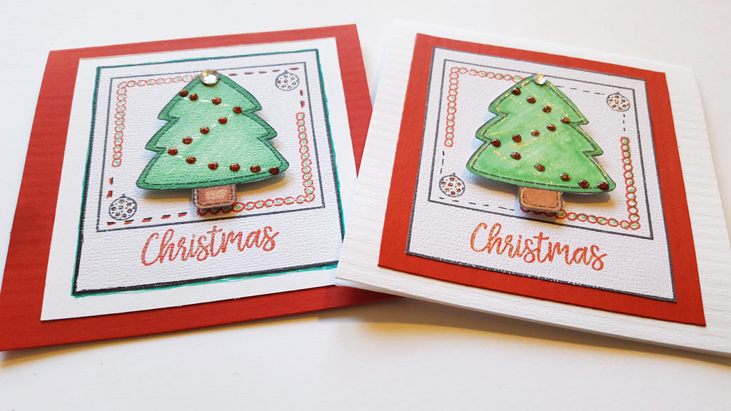 Christmas Tree Mini Cards using 3 Maymay Made It Stamp Sets